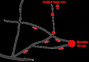Route Map to Kiyomizu Temple