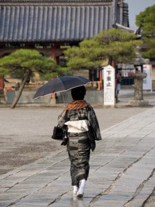 Japanese Lady visiting the Temple