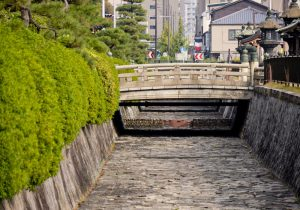 Moat surrounding the temple