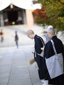 Buddhist priests in Chishaku-in Temple